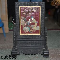 Chinese Lacquerware Wood Inlay Shoushan Stone Shell Ancient People Screen Statue
