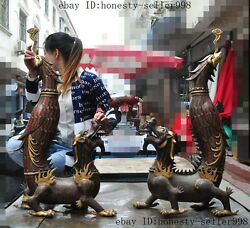 Old China bronze cloisonne 24k gold Dragon Phoenix Candlestick Candle holders A