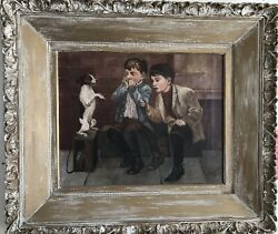 "Fournier 1914 Dog Oil On Painting; ""Music Hath Charms"" Jack Russel Terrier"