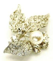 New Silver Tone Crystal Triple Leaf White Pearl Dress Brooch in Gift Box
