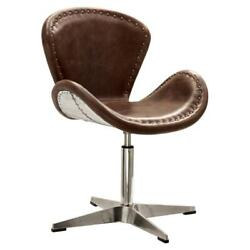 Acme Brancaster Swivel Leather Accent Chair In Retro Brown