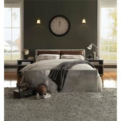 Acme Brancaster Leather Queen Platform Bed With Storage In Retro Brown And Gray