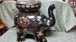 Gold Gilt/ Royal Blue Chinese Porcelain Elephant Garden Seat Table Plant Stand