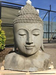 Large Sculpted Lava Stone Buddha Bust Head Japanese Garden Carved Bali Statue