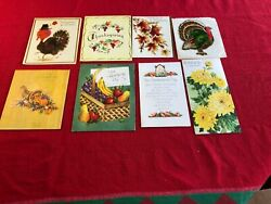 Vintage Thanksgiving Holiday Greeting Cards Lot Of Eight Used