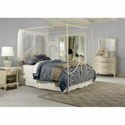 Hillsdale Dover Transitional King Metal Canopy Bed In Cream