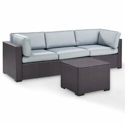 Crosley Biscayne 3 Piece Wicker Patio Sofa Set In Brown And Mist