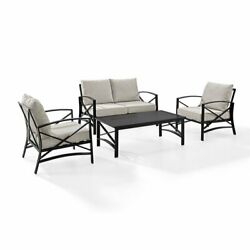 Crosley Kaplan 4 Piece Patio Sofa Set In Oil Rubbed Bronze And Oatmeal