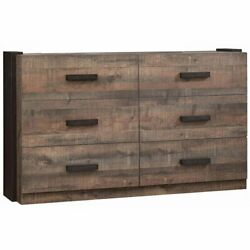 Coaster Weston 6 Drawer Double Dresser in Weathered Oak and Coffee
