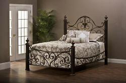 Hillsdale Furniture Mikelson Bed Set - Queen With Rails Aged Antique Gold New