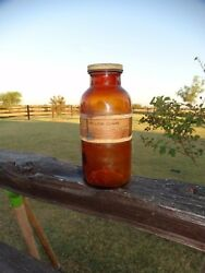 19790 Antique 1906 Amber Glass Apothecary Drug Store Jar - Yellow Ochre Label