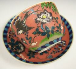 Rare Japanese Silver Wire CloisonnÉ On Porcelain Demitasse Cup And Saucer Signed
