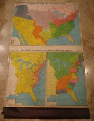 1940's Canvas School Pull Down Map-transportation River Canal Industrial-gf Cram