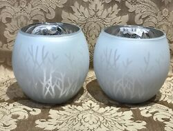 Yankee Candle FOREST GLOW SILVER FLICKERING VOTIVE CANDLE HOLDER SET NIB