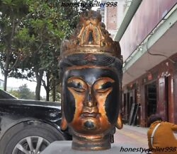 40 Huge Chinese Temple Lacquerware Old Wood Goddess Kwan-yin Head Bust Statue