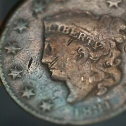 1831 Liberty Matron Head Large Cent Gorgeous Rainbow Toning Vg Condition A-485