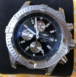++ BREITLING SUPER AVENGER 5ct DIAMONDS BLACK WATCH A13370 BOX PAPERS CASE ONLY