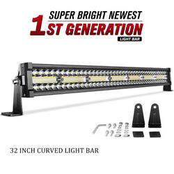 32inch Curved Led Light Bar 648w Tri Row Spot Flood Combo Offroad Truck Suv 30''