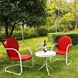 Bistro Table And Chairs Retro Metal Red 3 Piece Set Vintage Lawn Outdoor Patio