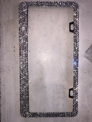 Metal License Plate Frame With Crystals With Screws.