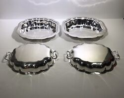American 20th Century Sterling Silver Pair Lidded Vegetable Dishes
