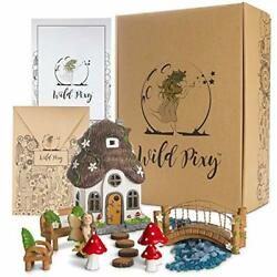 Outdoor Statues WILD PIXY Fairy Garden Accessories Kit Miniature House Set For