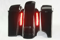 Gloss Black 4andrdquo Left No Cutout Saddlbag Rear End For 2008 And Older Harley No Latch