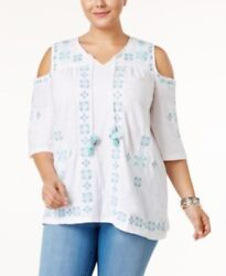 Style & Co Plus Size Embroidered Cold Shoulder Peasant Top 2X White #6523