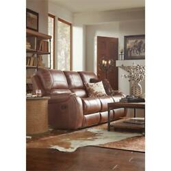 Home Fare Dual Recliner Sofa With Dropdown Charging Console In Mesquite Brown