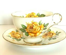 Vintage Made in England Adderley Fine Bone China Yellow  Rose Cup Saucer