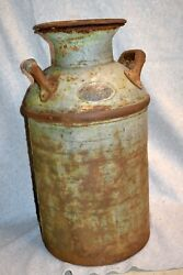Antique 1900and039s Pierce Oil Corp. 10 Gallon Oil Or Gas Can W/ Lid Milk Can Size