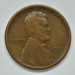1911-s Us Lincoln Wheat Cent Penny Vg Condition   A-585