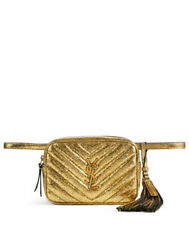 New Authentic Ysl Yves Saint Laurent Cracked Crinkled Gold Lou Belt Bag Sold Out
