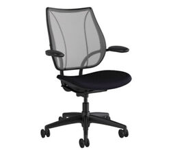 New Humanscale Liberty Office Desk Task Chair Black - Pinstripe Silver -graphite