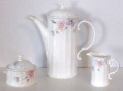 Mikasa Tremont Coffee Pot Creamer And Sugar Bowl With Lid Discontinued 1037 B
