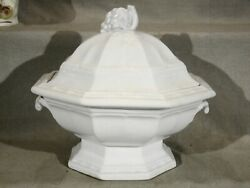 Large Antique Grape Octagon Classic White Ironstone Footed Tureen 1840-1850and039s