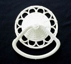 Vintage Home Interiors Towel Bar Ring Wall Resin Wicker Rattan White Usa 1973