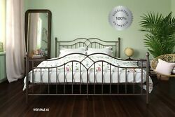 Metal Bed Frame King Farmhouse Iron Vintage Bronze Rustic Modern Country Style