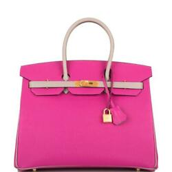 Hermes HSS Bi-Color Rose Pourpre & Gris Asphalte Epsom Birkin 35cm Brushed Gold