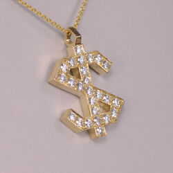 14k Yellow Gold Heavy Diamond Dollar Sign With Chain