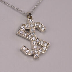Solid Gold Diamond Dollar Sign Pendant With Chain New