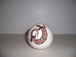 Emma Lewis Acoma Native American Indian Polychrome Lizard Pottery Seed Pot
