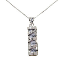 Shema Israel Jewish Mezuzah With Scroll Sterling Silver Pendant Chain Necklace