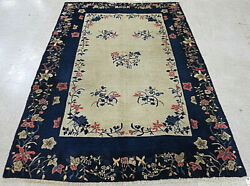 Antique Art Deco Blue Peking Chinese Pekin Rug Hand Knotted Wool 6and0394 X 8and03911
