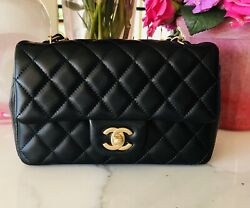 Stunning CHANEL BLACK LAMBSKIN MINI Rect CLASSIC FLAP BAG QUILTED Matte Gold HW!