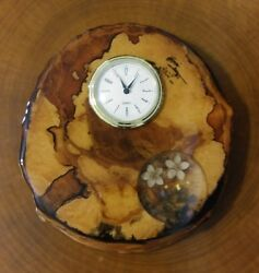 Birch Wood Slice Clock W Alaskan Wildflowers And Gold Works Great Natural Decor