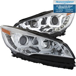 Fits 13-15 Ford Escape Headlights Left And Right Pair W/ Clear Lens And Chrome
