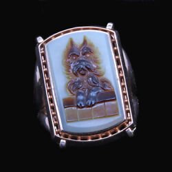 Antique Vintage Ring 14k Gold Cameo Scottie Dog Terrier Unisex Man Woman (6716)