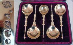 Antique Serving Ladles Spoons Gilt Sterling Silver Fitted Box Victorian Set725