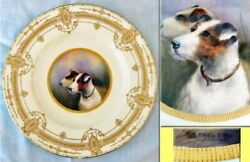 Antique Royal Worcester Plate Hand Painted Terrier Dogs Painting Gilding 3781